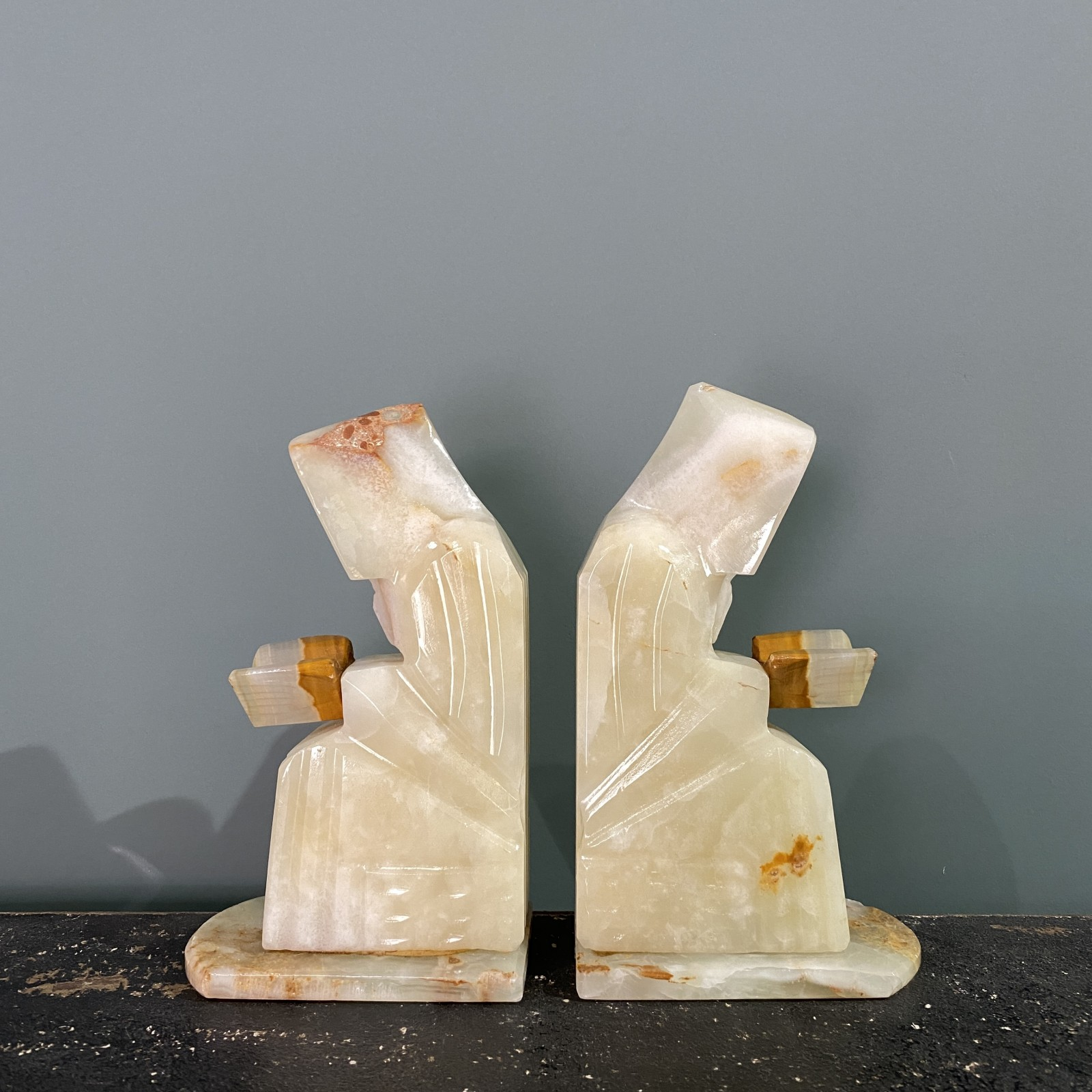 onyx marble bookends