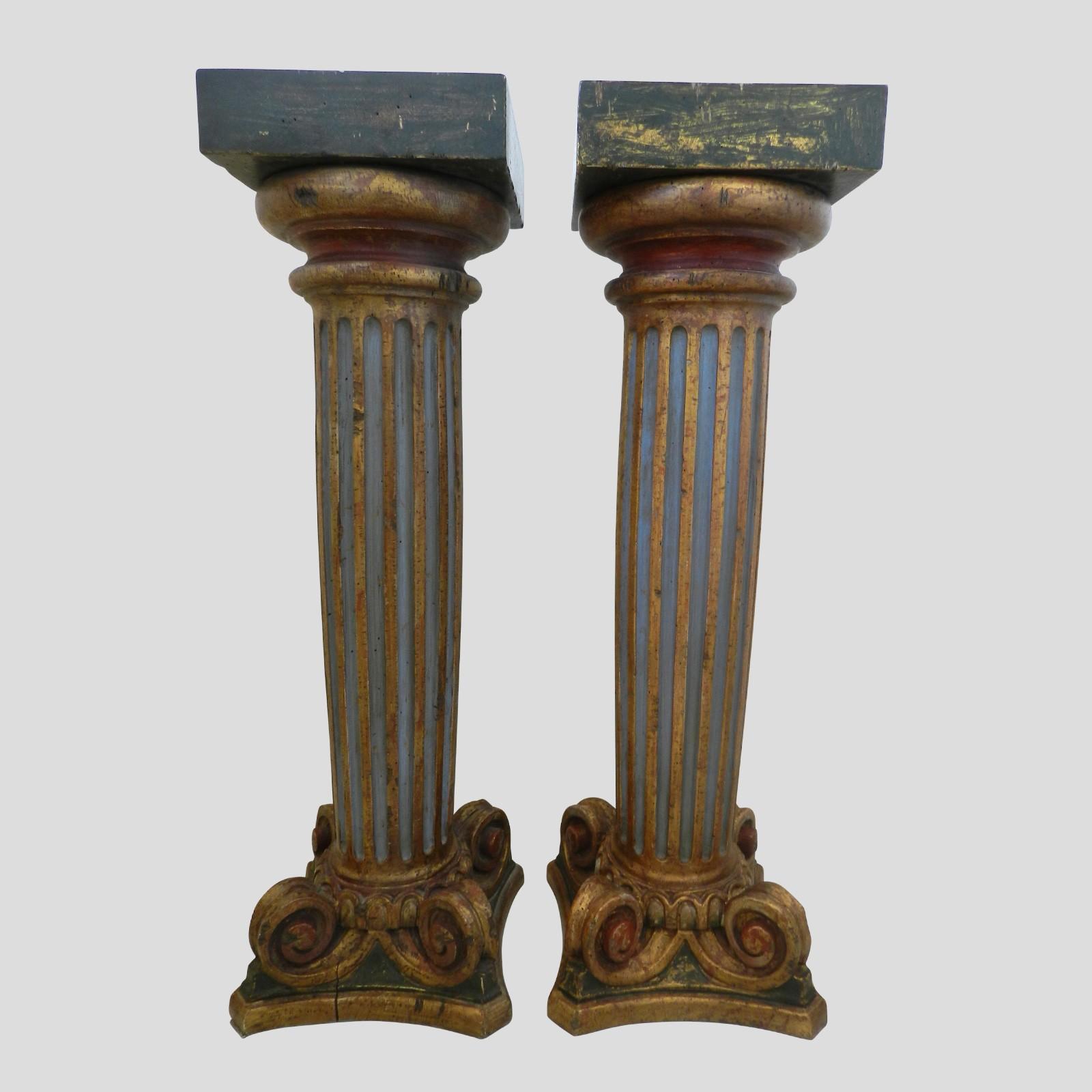 pair of carved wood columns